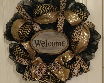 Black Deco Mesh Wreath Leopard Print Wreath Cheetah Print Wreath
