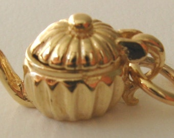 Genuine SOLID 9K 9ct YELLOW GOLD 3D Teapot charm/pendant