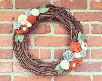 Felt Flower Grapevine Wreath, Burnt Orange, Gray & Cream