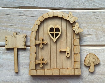 Wooden Fairy Door Blank Birch Pywood Pixie Hobbit Elf door Kit ready to decorate KIT SH