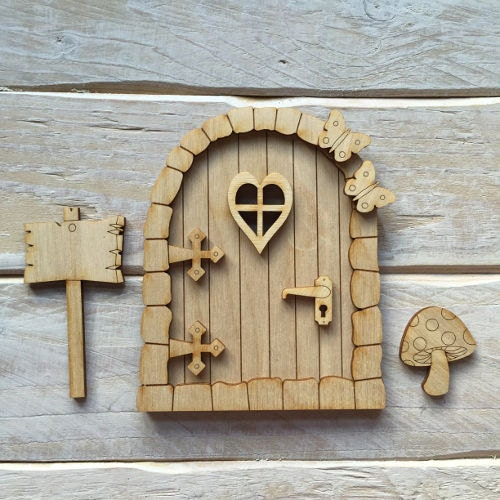 Wooden fairy door blank birch pywood pixie hobbit elf door for Fairy door kits canada