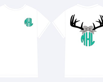 Monogram Antler Shirt, Monogram Glitter with Bow and Antlers Shirt