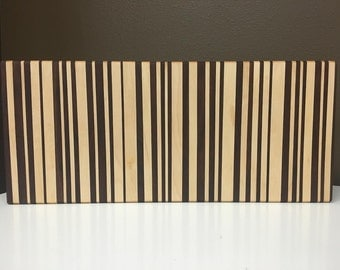 Maple & Walnut Barcode Cutting board
