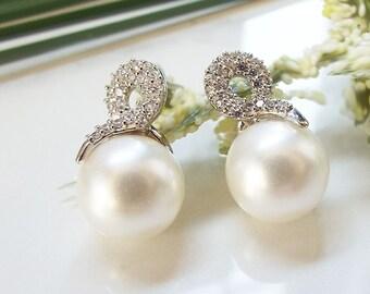 Pearl Wedding Earrings Pearl Bridal Earrings Pearl Earrings Sterling Silver Studs  Pearl Bridal Studs Pearl Wedding Studs Pearl CZ Studs