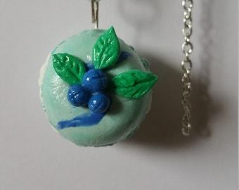 mint/blueberry macaroon charm