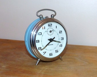 French Vintage alarm clock Bayard mechanical blue