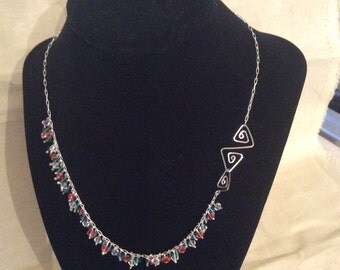 Greek Scroll Clasp Teal and Pink Crystal Fringe Necklace