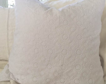 Pillow Cover, White Eyelet, Medallion, Linen