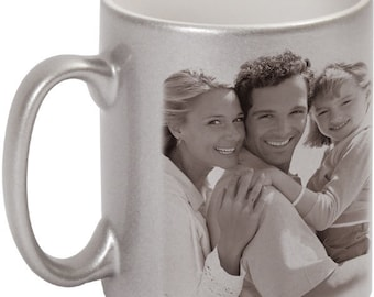 Personalized Silver Sparkling Mug with your own photo or text