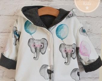 Reversible Elephant Coat, Kidswear, Baby Clothes, Handmade, JMW Kids, Toddler, Baby girl, Winter coat, Super elephant, Animal coat, baby boy