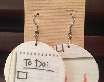 To Do List Upcycled NewsPaper Dangle Earrings, Drop Earrings, Paper Earrings, Paper Jewelry, Black, White, Reddish-Orange, Fire