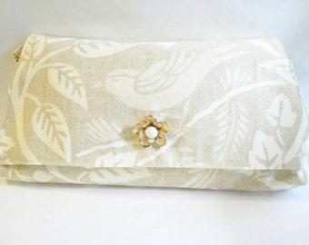 Clutch - bridal purse - bird purse - wedding purse - shoulder bag - for her - wedding clutch - fabric purses - Gift for her - flower purse