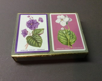 Box Set of Two Decks of Congress Playing Cards - African Violets - 606