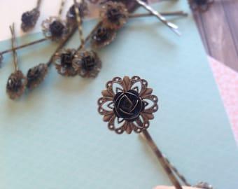 VINTAGE flower HAIRPIN bronze