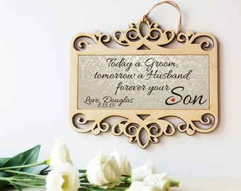 Wedding sign, Mother of the Groom gift, Father of the Groom gift, Parents of the Groom, Gift from Groom, Grooms parents, Wedding gift