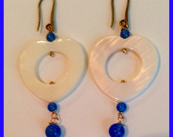 Mother of Pearl Heart Earrings and blue agate