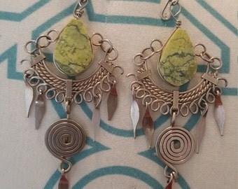 Green Alpaca earrings