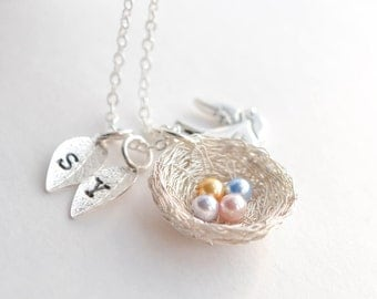 4 Eggs Bird's Nest Necklace | Bird Nest Pendant | Baby Shower Necklace | 4 Kids Necklace | Pregnancy Loss Necklace | Miscarriage Necklace