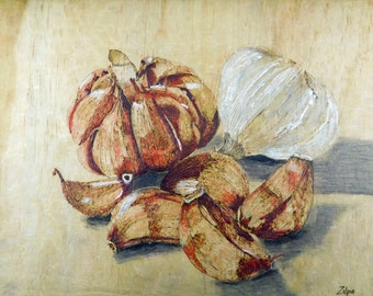 Garlic and Garlic Cloves - Pyrography and Encaustic Painting on Wood