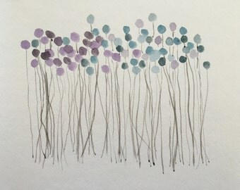 """Dot Flowers - Original 9""""x12"""" Cool Abstract Watercolor Painting - Good Birthday Present"""