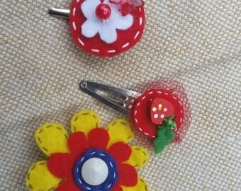 Handmade hair clips set 3 pcs