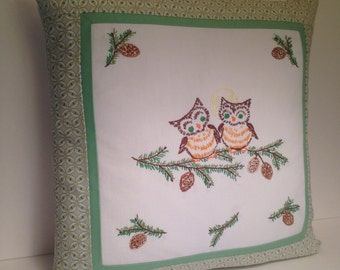 Handmade Owl Pillow Created From Vintage Embroidery
