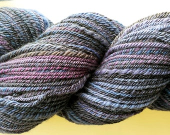 Hand Spun Yarn, Navy/Purple varigated, Merino wool, 3ply sport weight--#102