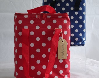 Large polka dot insulated cool bag ideal for picnics, packed lunches, school lunches or drinks - avalible in red or blue