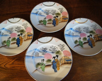 Four Hand-Painted Japanese Geisha Side Plates.