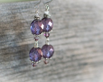 Violet fire-polished Czech-glass dangle Earring with Swarovski Crystal Accents