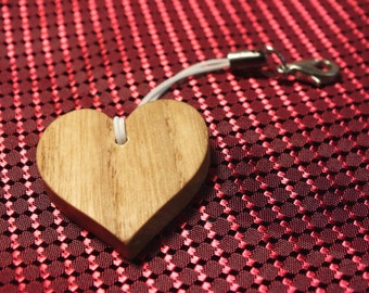 Wooden heart Cell Phone Lanyard or keychain