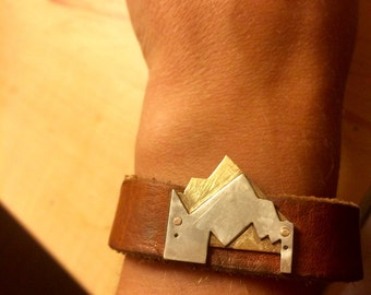 Sterling Silver and Bronze Leather Bracelet