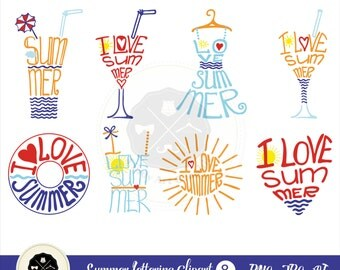 Summer Lettering_1 Clipart,summer clipart,letterting,word clipart,digital download
