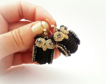 OWLS BLACK EARRINGS