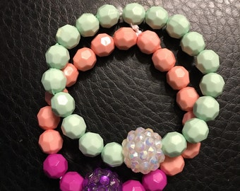 Kids bead bracelet pink and mint