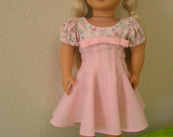 "SALE 20 % OFF---Pink Back-to-School or Party Dress for American Girl or 18"" Doll, retro-vintage 1950s, OOAK"