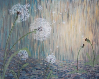Dandelion Wish, Painting, 8x10 or 11x14 print of original artwork, make a wish, hope painting