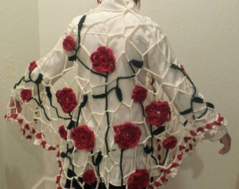 Red Rose Shawl -  Rose Wrap - Shawl -  Crochet Shawl - Bohemian Shawl - Rose Cape - Crochet Bohemian shawl - Bohemian Style