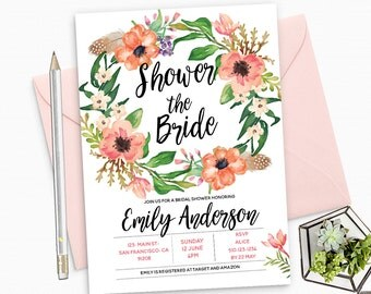 Boho Bridal Shower Invitation Printable - Flowers Colorful Invite - Custom Bridal Shower Invitation - Flowers and Feathers Invite - BS32
