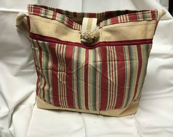 Canvas bag with red and creme stripe