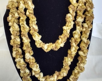 Gold Metallic Knitted Infinity Rope Scarf