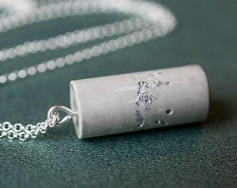 Silver Leaf Cement Cylinder Pendant Necklace