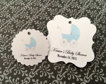 Baby shower favor tags, carriage, thank you favor tags