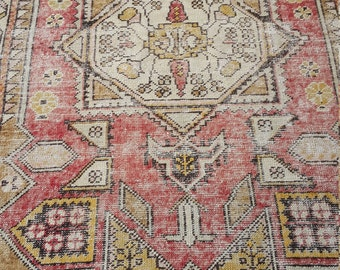 wintage anatolian turkish oushak rug 2.9x7 ft