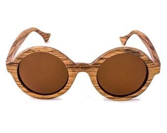 Zebra Wood Sunglasses Retro Round Polarized Lens - Ziba Wood