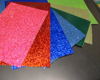 Glitter Flake Sheet, Adhesive backed, Choose your color and size