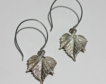 Grape Leaf Sterling Silver Handcrafted Earrings