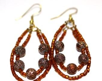 Copper Bead Circle Earrings