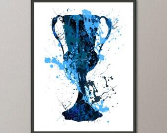 Hufflepuff Trophy -  Harry Potter Art Print,  Instant Download, Watercolor Print, Harry Potter, Art Print, Gryffindor Print, Slytherin Print
