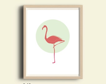 Animals wall decor, printable Flamingo print, printable nursery wall print, nursery decor, baby room decor, cute animals, pastel colors art
